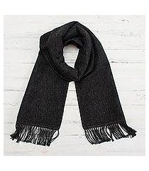 alpaca blend scarf, 'winter chic in graphite' (peru)