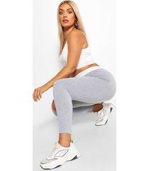 plus leggings met contrasterende elastische taille band, grijs gemêleerd