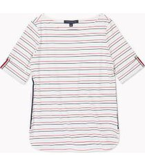 tommy hilfiger women's relaxed fit essential roll-tab sleeve stripe top porcelain stripe - xs