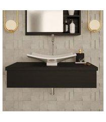 conjunto para banheiro bancada com cuba f44 folha city 800 preto ônix