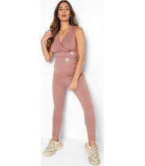 zwangerschap geribbelde wikkel crop top en leggings set, mauve