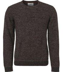 no excess pullover, r-neck, multi col jacquar black