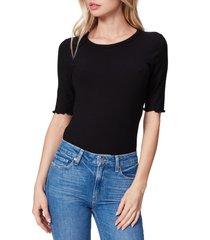 women's paige oslee rib top, size medium - black
