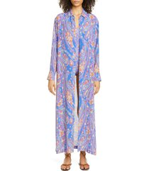 women's etro paisley long sleeve caftan cover-up