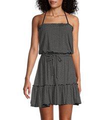 elan women's striped blouson coverup dress - black white - size m