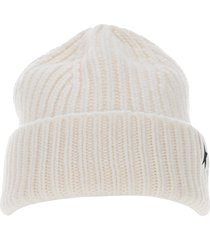 golden goose star patch ribbed beanie