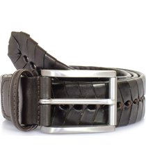 andersons stitched chevron leather belt | brown | pi175/m1b