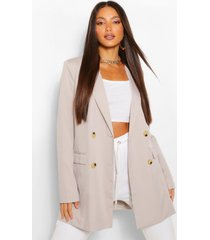 tall double breasted longline oversized blazer, grey