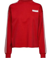 cropped sweat with stripes on sleeves sweat-shirt tröja röd scotch & soda