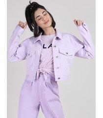 jaqueta de sarja feminina manu gavassi cropped com bolsos lilás