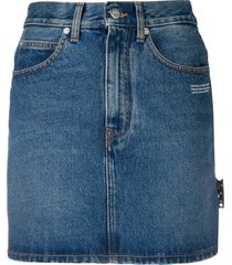 off-white logo print denim skirt - blue