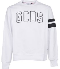 gcds white logo print sweatshirt