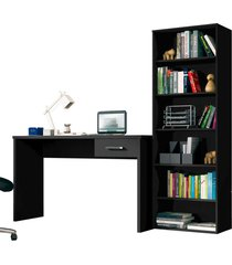 conjunto escritã³rio mesa 1 gaveta gã¡vea e estante office preto - mã³veis leã£o - preto - dafiti