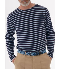armor lux long sleeve breton striped mariniere t-shirt - navy & light blue 02297