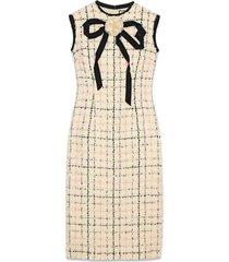 gucci tweed sheath dress with bow - neutrals