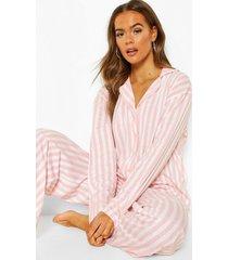 roze gestreepte jersey pyjama set, roze
