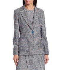 st. john women's space-dyed tweed knit jacket - scuba grey multi - size 2