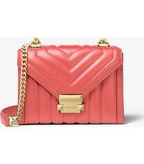 mk borsa a spalla whitney convertibile piccola in pelle trapuntata - pompelmo rosa (rosa) - michael kors