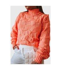blusa feminina em tricot patena cestaria ak coral candy