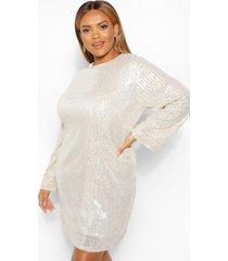 plus loshangende jurk met pailletten en lange mouwen, silver