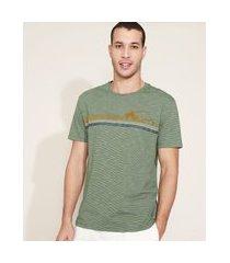 camiseta masculina montanha manga curta gola careca verde