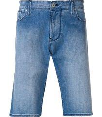 emporio armani straight leg denim shorts - blue