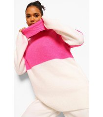 oversized gebreide colour block trui, pink