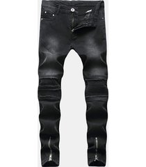 hip hop fashion zipper fold holes designer nero jeans per uomo