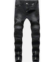 hip hop fashion zipper fold holes designer nero jeans per uomo