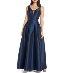 chi chi london perla back cutout evening dress, size 4 in navy at nordstrom