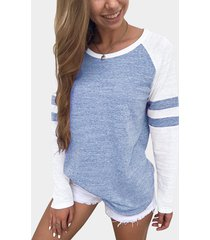 blue stripe colorblock round neck raglan sleeves t-shirts