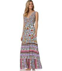 vestido azul-multicolor maaji swimwear abundance consciousness long