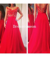 red apliques lace chiffon prom/party/evening dress ,red homecoming formal/dress