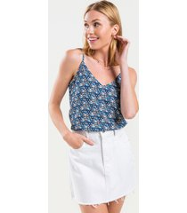women's alessa geo print tank top in blue by francesca's - size: 3x