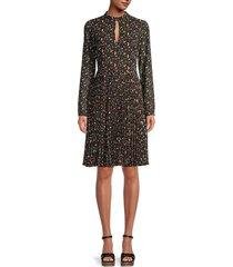 mikael aghal women's berry-print pleated dress - red black - size 4
