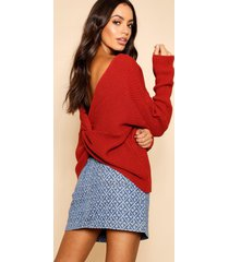 crop twist sweater, rust
