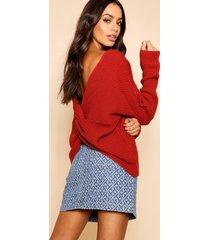 crop twist sweater, rust