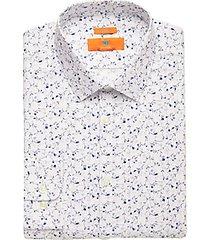 egara orange blue floral extreme slim fit dress shirt