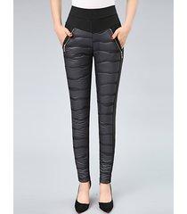 pantaloni attillati in velluto da donna in vita elastica patchwork casual