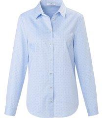blouse 100% katoen lange mouwen van peter hahn blauw