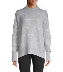 design history women's sequined mockneck sweater - frost combo - size m
