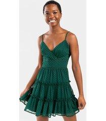 emerie polka dot tiered mini dress - hunter green