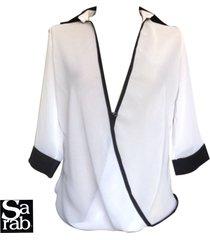 blusa seda cruzada 3/4 bsc-000/sarab blanca