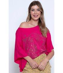 blusa bisã´ tiger pink - rosa - feminino - viscose - dafiti