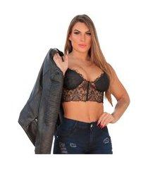 cropped top blusa feminina renda strappy tiras bojo preto