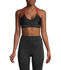 koral activewear women's colorblock sports bra - black red - size xs