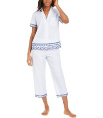 charter club cotton embroidered stripe capri pants pajamas set, created for macy's