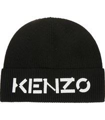 kenzo logo ribbed beanie