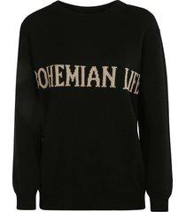alberta ferretti bohemian life embroidered sweater