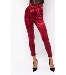akira flossy flossy paper bag high waisted stretchy satin cigarette pants